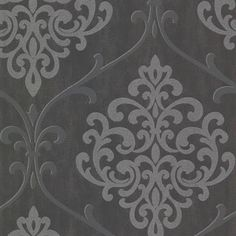 Ambrosia Charcoal Glitter Damask This glamorous modern design damask is a luxe fusion of Western classic meets African ethnic. An abstract animal print texture is an alluring black backdrop for the powerful silver damask medallions. Damask Wallpaper, Embossed Wallpaper, Black Wallpaper, Wall Wallpaper, Sparkle Wallpaper, Antique Wallpaper, Wallpaper Paste, Wallpaper Ideas