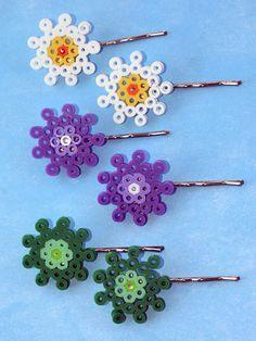 Perler Bead Flower Bobby Pins by ThePlayfulPerler