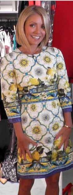 Today Kelly Ripa wore this gorgeous Dolce Gabbana dress! Dolce and Gabbana dress. wonder if there is a knock off of this. Super Cute Dresses, Nice Dresses, Cool Outfits, Fashion Outfits, Womens Fashion, Lemon Print Dress, Style Finder, Chic Dress, Celebrity Dresses