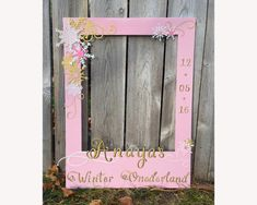 Child birthday photo prop giant frame for photo booth, winter wonderland, onederland, kid's first birthday party prop