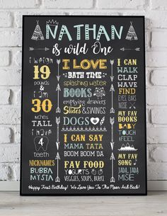 Wild One First Birthday Poster WIld theme Teepee Tipi Tribal Arrow Native American Chalkboard Poster First 1st Birthday Sign Photo Prop by BirthdayPosters on Etsy https://www.etsy.com/listing/512529908/wild-one-first-birthday-poster-wild