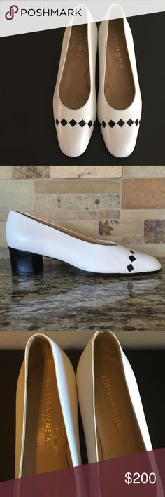 Vintage Authentic Bottega Veneta Leather Heels Aren't these just the cutest??!!  In excellent condition!!  White shoe with black heel and black design across toes.  Definitely a rare find.  Size 7.  No Trades!! Bottega Veneta Shoes Heels