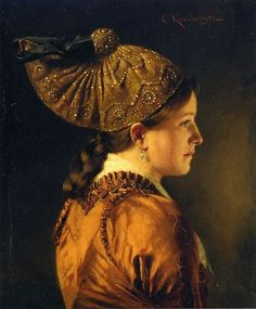 Kronberger, Carl (1841-1921) - A Portrait of a Girl Wearing a Goldhaube, or gold hood. This is the most beautiful goldhaube I've seen, and also a beautiful painting, all subtly glowing browns and coppers.