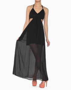 Halter Cut Out Maxi in Black