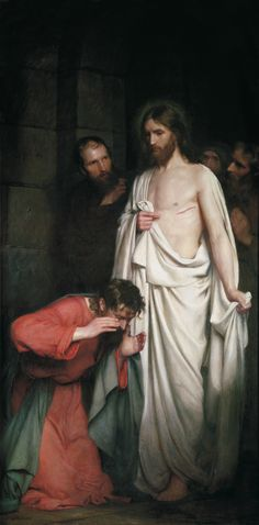 Majestic painting of Christ appearing before Thomas. Deep shadows. Perfect form.  /  Carl Bloch, The Doubting Thomas, 1881, Oil on canvas.