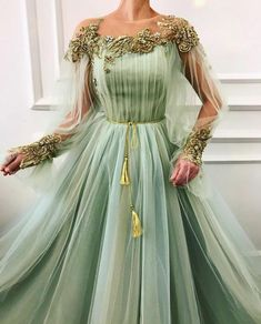 Charming Moss Details - Green Celery dress color - Tulle dress fabrics - Handmade embroideried TMD Flowers,gold colored belt - Ball-gown dress shape with long sleeves - For parties,evenings and special occasions Ball Gown Dresses, Tulle Dress, Evening Dresses, Dress Up, Prom Dresses, Dress Lace, Elegant Dresses, Pretty Dresses, Beautiful Dresses