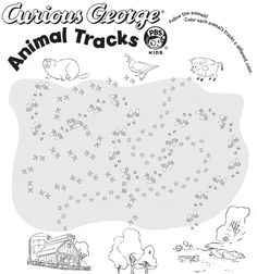Curious George follow the animal tracks page