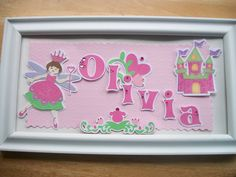 Princess Fairy Castle name sign custom made FRAME INCLUDED girl baby toddler wall hanging gift  bedroom decor. $36.00, via Etsy.