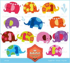 Adding the cute to a Bollywood themed party - printable baby elephants from Ba Ba Puff on Etsy.