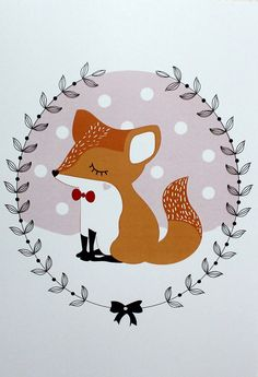 Illustration Renard Illustration réalisée par Emmanuelle de la Mécanique du Bonheur. Fait avec amour ! Idéal pour décorer une chambre