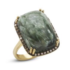 Dabakarov 14KYG Seraphinite Brown Diamond Halo Ring