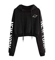 a1c41a7138 ZEZKT Sweat-Shirts Femme,Sweats à Capuche Fille Sport Hoodie Pull Lettre Imprimé  Sweat