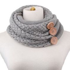 NWOT Chic big buttons embellished knitted scarf NWOT Chic big buttons embellished knitted neck warmer Accessories Scarves & Wraps