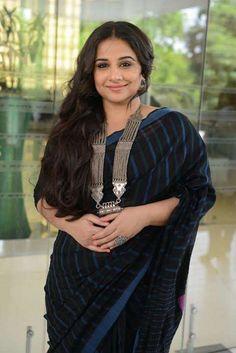 Vidya Balan in bold black striping beauty with some chunky silver jewellery! Indian Attire, Indian Wear, Bollywood Fashion, Bollywood Actress, Bollywood Celebrities, Vidya Balan, Elegant Saree, Curvy Outfits, Beautiful Saree