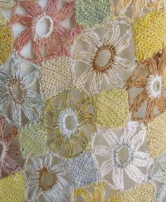 """Fleur simple linen scarf is a dream of muted, golden pastels. 11"""" X 52""""  - magnification"""