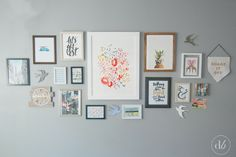 Dwell Beautiful uses Minted art to make a beautiful and cheerful gallery wall in her office/lounge/future nursery. Check out the beautiful prints and styling!