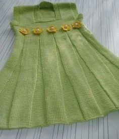 Pileli Kare Yakalı Çiçek Ve İnci Süslemeli Çocuk Jilesi / Elbisesi Tarifi. 2 .3 yaş