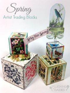 Spring Artist Trading Blocks with Graphics Fairy Images and Craft Attitude by Amy Bowerman
