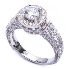 2Ct .925 Sterling Silver Round & Pave Halo CZ Wedding Engagement Ring Sizes 6-9 #SolitairewithAccents
