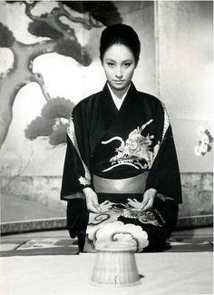 Japanese actress in dragon-motif kimono. 1960's or 70's, Japan