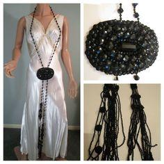 "Vintage 1920s Black Jet Beaded LONG Necklace w/Medallion 60"" EUC! #Lariat"