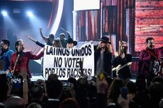 "ICYMI: Maná & Los Tigres Del Norte to Latino Voters at Latin Grammy Awards: 'Don't Vote f  It's worth mentioning again. This happened over the weekend at the Latin Grammy awards. Maná and Los Tigres del Norte sang ""Somos Mas Americanos,"" then they held up the sign. When politics crosses over to pop culture like this, you know folks are paying attention. It's a sign that this presidential election year more Latinos are engaged at some level. I like that the sign mentioned the power of the…"