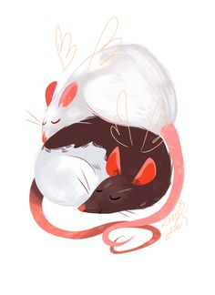 One is an illustration of my two girls, Bear and Rei, who are both angels now. Rat Tattoo, Tattoo Und Piercing, Cute Drawings, Animal Drawings, Fancy Rat, Cute Rats, Dibujos Cute, Pretty Art, Cute Illustration