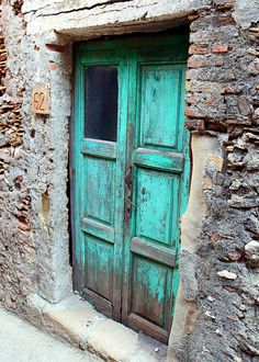 Doors of Sicily Photography Set - Aqua and Red Door Photo - Italy Photograph  - Rustic Turquoise - Stone Wood - Natural Farmhouse Decor. $30.00, via Etsy.