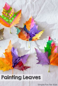 Leaves - Simple Fun for Kids Art Projects for Kids: Painting Leaves - simple and oh so beautiful!Art Projects for Kids: Painting Leaves - simple and oh so beautiful! Autumn Activities For Kids, Fall Crafts For Kids, Thanksgiving Crafts, Art Activities, Toddler Crafts, Preschool Crafts, Kids Crafts, Art For Kids, Arts And Crafts