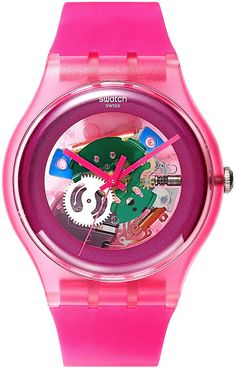 Swatch Watch, Unisex Swiss Pink Lacquered Pink Silicone Strap 41mm SUOP100 thestylecure.com