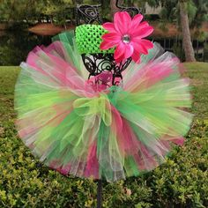 Christmas Tutu for Baby Pink and Green with Flower by TutuCaChu, $39.99