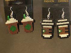 Easy Perler Bead Patterns, Melty Bead Patterns, Perler Bead Templates, Diy Perler Beads, Perler Bead Art, Beading Patterns, Mini Hama Beads, Hama Mini, Perler Earrings