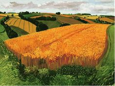 """This week's work of art is by contemporary British artist David Hockney. It was painted in August of 2005 and is known as Wheat Field Near Fridaythorpe. It was part of a series of paintings Hockney did entitled """"A Year in Yorkshire. David Hockney Landscapes, David Hockney Art, David Hockney Paintings, Jasper Johns, Andy Warhol, Landscape Art, Landscape Paintings, Pop Art Movement, Arte Pop"""