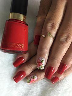 Melhores modelos de unhas vermelhas decoradas para copiar Finger Nail Art, Floral Nail Art, Manicure E Pedicure, Beauty Junkie, Nail Arts, Gel Nails, Free Printables, Nail Designs, Hair Beauty