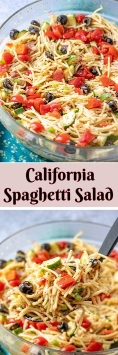 If you need an easy side dish for a potluck or picnic California Spaghetti Salad has diverse textures loaded with pasta and zucchini & is a great summer salad recipe that tastes even better the next day! Best Pasta Salad, Pasta Salad Italian, Pasta Salad Recipes, Pasta Primavera, Summer Side Dishes, Side Dishes Easy, Summer Salad Recipes, Summer Salads, Pasta Dishes