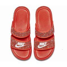 Nike Benassi JDI women's slide sandals(blue) ($250) ❤ liked on Polyvore featuring shoes, sandals, orange flat shoes, nike, nike shoes, swarovski crystal sandals and orange shoes