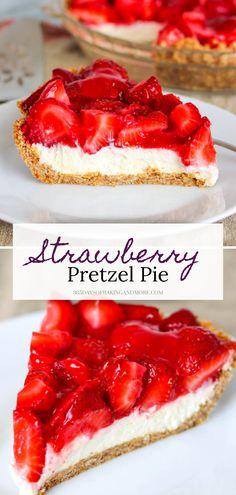 Strawberry Pretzel Pie, Strawberry Dessert Recipes, Stawberry Pie, Strawberry Cupcakes, Summer Desserts, Fun Desserts, Delicious Desserts, Yummy Food, Pretzel Desserts