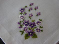 Vintage Handkerchief Violets