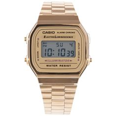 Casio Vintage Gold Digital Watch ($63) ❤ liked on Polyvore featuring jewelry, watches, accessories, bracelets, gold, digital, digital wrist watch, vintage gold watches, gold watches and gold jewelry