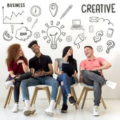 Young people sitting on seat with creative drawn icons on background Free Photo Inspirational Quotes For Students, Advertising Services, Class Design, Adobe Photoshop, Team Photos, People Sitting, Backgrounds Free, Digital Marketing Strategy, Leadership