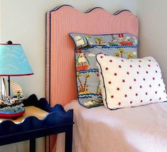 oomph WAVE headboard and Hobe Sound Table. For the perfect little boy's room.