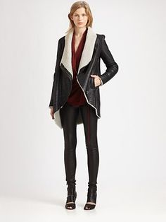 Helmut Lang - HELMUT Weathered Leather Shearling Coat