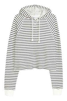 Camisola curta com capuz   H&M