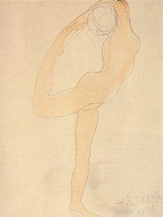 19/1/14 Rodin watercolour sketch of a dancer. Simplicity of line and gestural wash of colour. tanzende_figur_hi.jpg 338×450 pixels