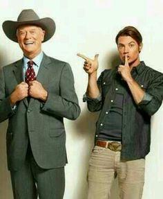 Larry Hagman (JR Ewing, Dallas) and Josh Henderson (JR's son, John Ross Ewing, Dallas)