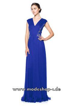 V Dekollette Abendkleid in Blau mit Spitze