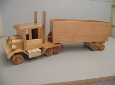 Eco-friendly Wooden Toy Truck Semi 14 Wheeler by Aroswoodcrafts