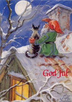 Christmas DIY: Illustration Description Whimsical Card of a holiday elf and cat sitting on a rooftop and gazing at the moon. Norwegian Christmas, Christmas Gnome, Vintage Christmas Cards, Scandinavian Christmas, Christmas Greetings, Winter Christmas, Baumgarten, Kobold, Elves And Fairies
