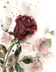 Rose Watercolor Painting Art Print Burgundy by CanotStopPrints Watercolor Rose, Watercolor Paintings, Painting Art, Rose Paintings, Watercolours, Rose Art, Abstract Wall Art, Flower Art, Art Flowers