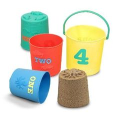 Melissa & Doug's Sunny Patch Seaside Nesting Pails are great for travel; the four buckets neatly nest to fit into your suitcase. Pair these with the sand molds, and the kids are set for the beach!